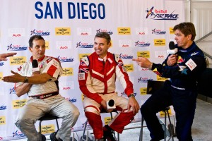 L to R: Top three finishers Mike Mangold, 2nd; Paul Bonhomme, 1st; and Kirby Chambliss, 3rd; share a light moment at the after race press conference.