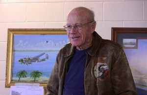 On one of his missions, Lt. Lynn Daker was forced to ditch in the ocean only a few hundred yards from a Japanese-held island. He and his crew were safely rescued.