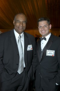 "Star Trek icon Michael Dorn visits with Brian Terwilliger during the Living Legends of Aviation award ceremony in January 2007. Dorn keeps his Baron at Van Nuys Airport. Terwilliger directed and produced ""One Six Right,"" which traces the history of VNY."