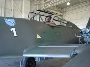 Michael Dorn tries out the cockpit of a Warbird Recovery Messerschmitt 262.