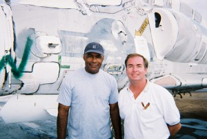 Michael Dorn visits with Gordon Page of Colorado-based Warbird Recovery.