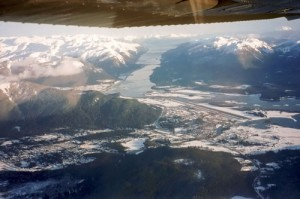 With a dearth of level land around Juneau, Alaska, pilots must normally practice training maneuvers over water.