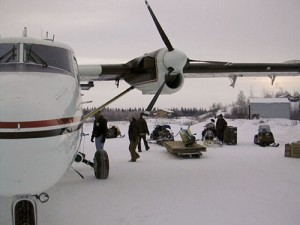 An Era Aviation DHC-6 De Havilland Twin Otter delivers supplies to an Eskimo community near Bethel, Alaska.