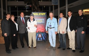 "L to R: Pietro Serapiglia, National Museum of the U.S. Air Force IMAX Theatre Mgr Mary Bruggeman, Clay Lacy, Cliff Robertson, Connie Edwards, Nick Spark, Brian J. Terwilliger & Ron Kaplan pose after the presentation of ""Fighter Pilot-Operation Red Flag."""