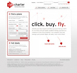 Equipped with a deceptively simple interface and plenty of the Virgin Group's playful humor, the Virgin Charter home page is an accessible entry point for both experienced and new jet charter customers.