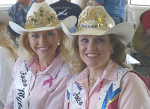 Miss Rodeo Wyoming, Stacy Jo Johnson, and Miss Rodeo Nevada, Anna Bavor, show off the state crowns on their hats.