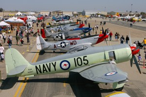 An impressive lineup of aircraft at Minter Field included a Hawker Sea Fury, seven P-51 Mustangs, T-6s, a Yak-11, an F4U Corsair, a Howard, BT-13s, B-25s, an A-26 Invader, a C-53 and many more.