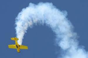 "Rob Harrison, ""The Tumbling Bear,"" put on a thrilling performance in his bright yellow Zlin 50LX."