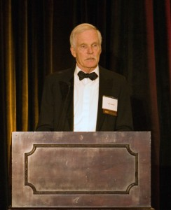 Ted Turner addresses the audience after accepting the 2008 Lindbergh Award.
