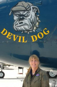 Devil Dog is a PBJ-1J, the Marine version of the North American B-25 Mitchell medium bomber. Beth Jenkins, the pilot who often flies Devil Dog to air shows, is the only female certified to fly this type of plane for the CAF.
