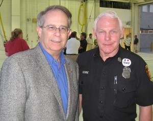 Elliot Sanders (left), VNY Propeller Aircraft Association president, and Capt. Robert Rebbe helped get the event organized at VNY Fire Station 114.