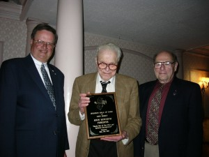 L to R: Dennis Miskewicz, dinner chairman; inductee John Kenneth Forester; and Stephen F. Riethof, associate director of AHOF.