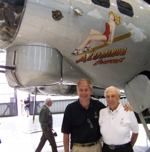 Greg Anderson (left) introduced retired U.S. Air Force Col. Harold (Hal) Weekley, a legendary B-17 pilot.