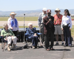 L to R:  Betty (Grace) Lotowitz; Kay Gunderson; Lucile Wise; Col. Bill Bower, Doolittle Raider #12; Col. Buck Newsum, Tuskegee Airman; Mike Silva; Bea Khan Wilhite, president, Colorado Aviation Historical Society, RMMA 2007 Open House Planning Committee.