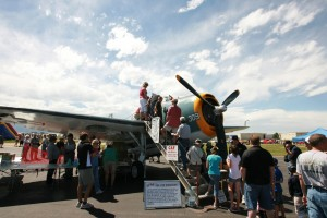 Throughout the day, visitors peered inside a TBM Avenger belonging to the Commemorative Air Force Rocky Mountain Wing.