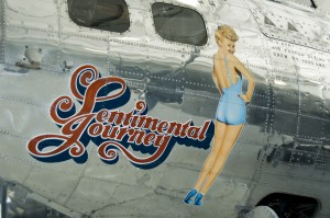 Sentimental Journey nose art features the popular actress Betty Grable.