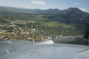 This view of Boulder is from Sentimental Journey's starboard waist gun turret.