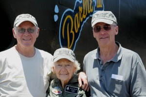 L to R: Dick Jones, Betty Blake and Jack Fedor posed for a photograph after Blake was presented with an official B-25H hat.