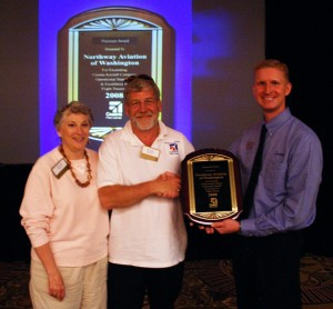 Cessna Aircraft Company recently awarded its Platinum Award to Northway Aviation for exceptional performance in the Cessna Pilot Center network. CPC Western Regional Manager Jim Pitman presented the award to Northway Aviation owners Jim and Jill Grant.