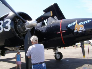 This rare Grumman F7F Tigercat, a twin-engine Navy fighter, was one of the most popular attractions at Paine Field's General Aviation Day this year.