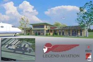 The architect's rendering shows the planned Legend Aviation FBO at Ernest A. Love Field (PRC) in Prescott, Ariz.