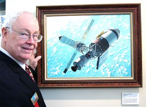 "Keith Ferris, an ASAA founder and former president, exhibits his painting, ""Skylab."""