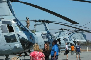 The lineup of CH-46s was popular with visitors on Sunday.
