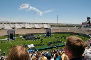 The Thunderbirds perform in honor of the new graduates.