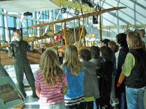 Students visiting the museum get lessons about aviation, from the Wright brothers' first flight to the age of space exploration.