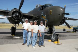 L to R: Barbie III's crew in Denver includes pilot Dick Jones, Maynard Kealiher, Frank Kurland and Herb Obenhaus.