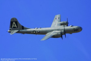 The Commemorative Air Force's B-29, Fifi, flies in the clear Texas skies.
