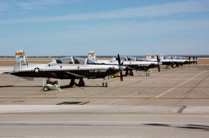 T-6 Texan II trainers line the ramp at Laughlin Air Force Base, Texas.