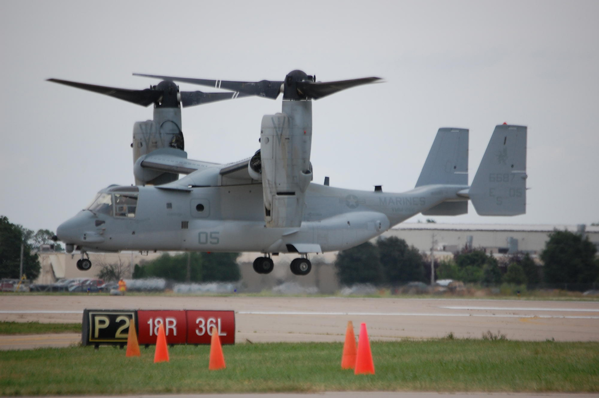 The V-22 Osprey, one of the more unique aircraft flown by the U.S. Navy and Marine Corps, made an appearance at AirVenture this year for the first time.