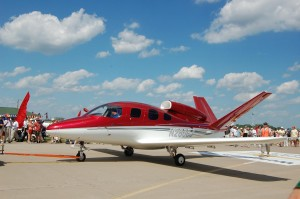 On Wednesday, the Vision SJ50 jet arrived for its world debut. The red and white V-tail single-engine jet first flew July 3.