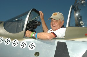 NAHF enshrinee and WWII Mustang ace Bud Anderson looks right at home in the authentically restored 1944 P-51D Happy Jack's Go Buggy, deemed by judges as the overall winner at the 10th annual National Aviation Heritage Invitational.