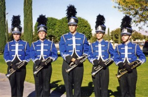 The trumpet section forms up for marching band competition in Safford, Arizona.