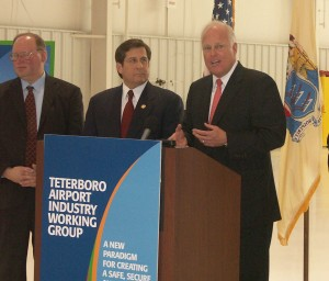 "(L to R) Bill Dakota, representing the Port Authority, U.S. Congressman Steven Rothman (D-N.J.) and National Air Transportation Association President Jim Coyne are pleased with the ""Pledge to the Community"" program results."