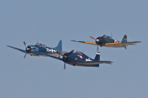 The Midway formation included a SBD Dauntless, F6F Hellcat and Mitsubishi Zero.