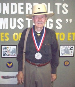 "AFAA president, Cmdr. W. E. ""Bill"" Hardy, was recently inducted into the Commemorative Air Force's American Combat Airman Hall of Fame. He is shown here wearing the medal he was awarded."