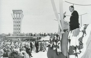 Period photographs, usually submitted by readers or from similar-themed Web sites, help define the histories of abandoned airports, such as this 1961 photo of Austin's Robert Mueller Municipal Airport's opening, with Austin Mayor Lester Palmer presiding.
