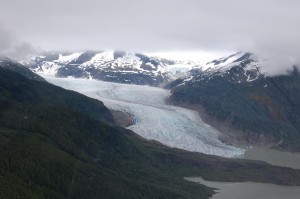 The Mendenhall Glacier ends its 12-mile journey at Mendenhall Lake, which in turn flows toward the coast.