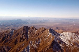 "Rare snow frosts the ""Four Peaks"" that dominate Phoenix's eastern skyline."