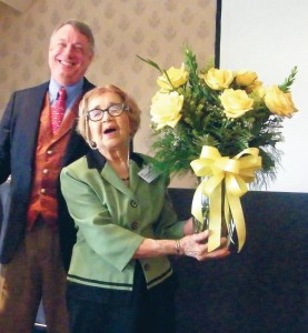 Emma Browning, who just turned 98, receives Texas yellow roses from TXAA.