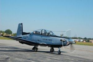 This U.S. Air Force T-6B made its first appearance at this year's event. The Beechcraft T-6B is a Joint Primary Aircraft Training System aircraft, with an advanced avionics suite that includes a head-up display and multifunction displays.