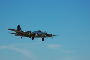 The Boeing B-17 Yankee Lady is on a final approach. This year saw the Flying Fortress constantly in the air, flying 16 sorties during the two-day event.