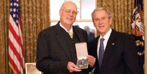 President George W. Bush stands with Forrest M. Bird of Sandpoint, Idaho, after presenting him with the 2008 Presidential Citizens Medal on Wednesday, Dec. 10, 1008, in the Oval Office of the White House.