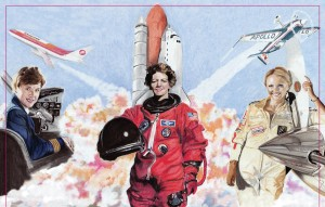 This painting of the First Ladies by well-known aviation artist Andrea Parks was auctioned off that evening for $3,000.