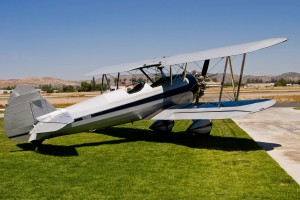 This 1945 Boeing Stearman B75N1, formerly owned by Steve McQueen, has been fully restored to flying condition and is currently owned by Bill Allen of San Diego.  The aircraft's N-number is Steve McQueen's old reform school number.