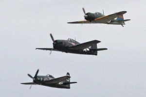 Three CAF warbirds (an F8F, anF6F and a Zero) participated in the flight demonstration.