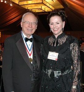Ed Swearingen, seen here at the Living Legends of Aviation gala with his wife, Janice, is among an elite group of aviators, inventors, and pilots who have been honored for their lifetime achievements in aviation.